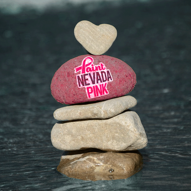Paint Nevada Pink Heart Rock in the Truckee River